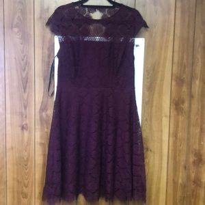Cute Purple Fit and Flare Dress